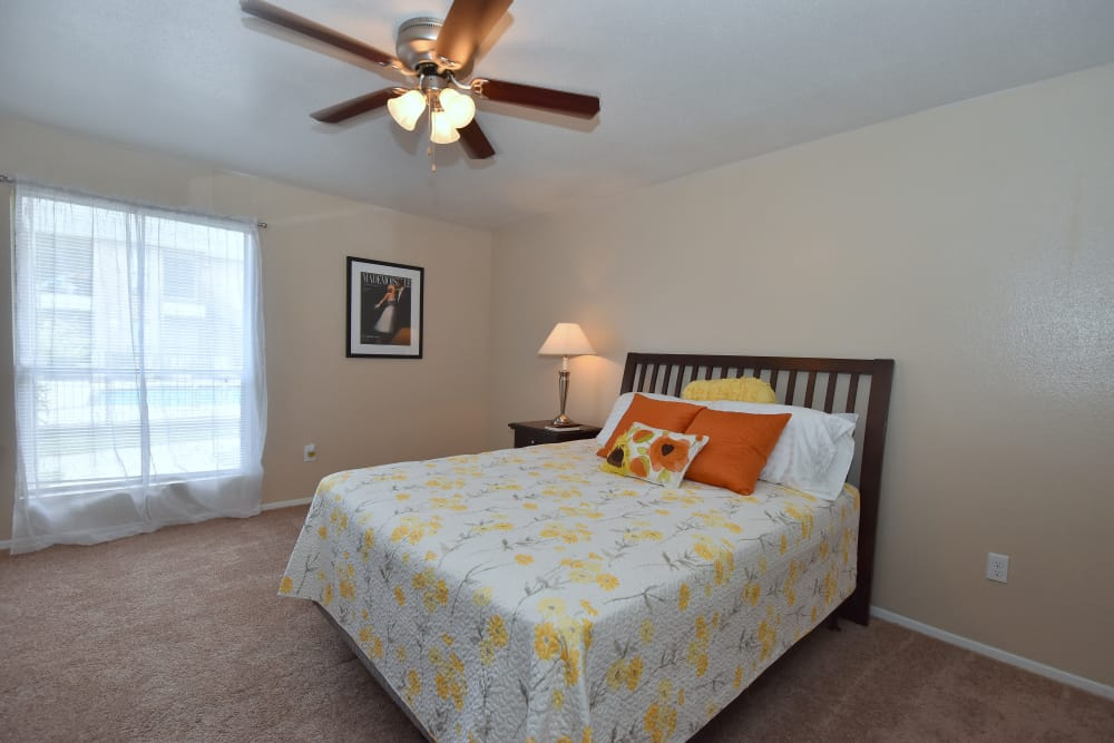 Large bedroom at Deerbrook Garden Apartments in Humble, Texas