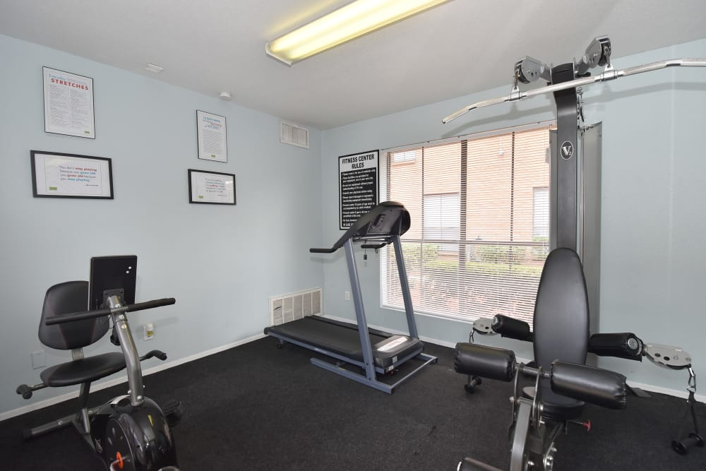Newly updated fitness center at apartments in Humble, Texas