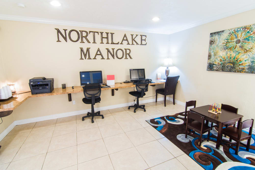 Newly updated office area at Northlake Manor Apartments in Humble, TX