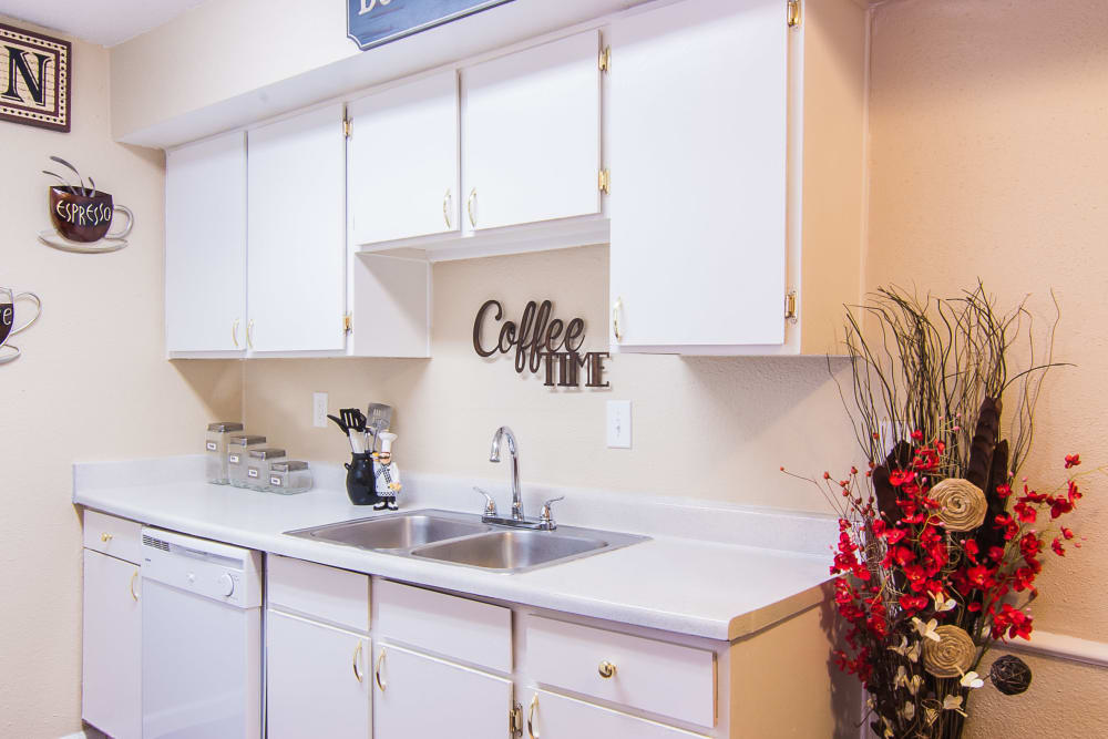 Modern kitchen at Northlake Manor Apartments in Humble, Texas