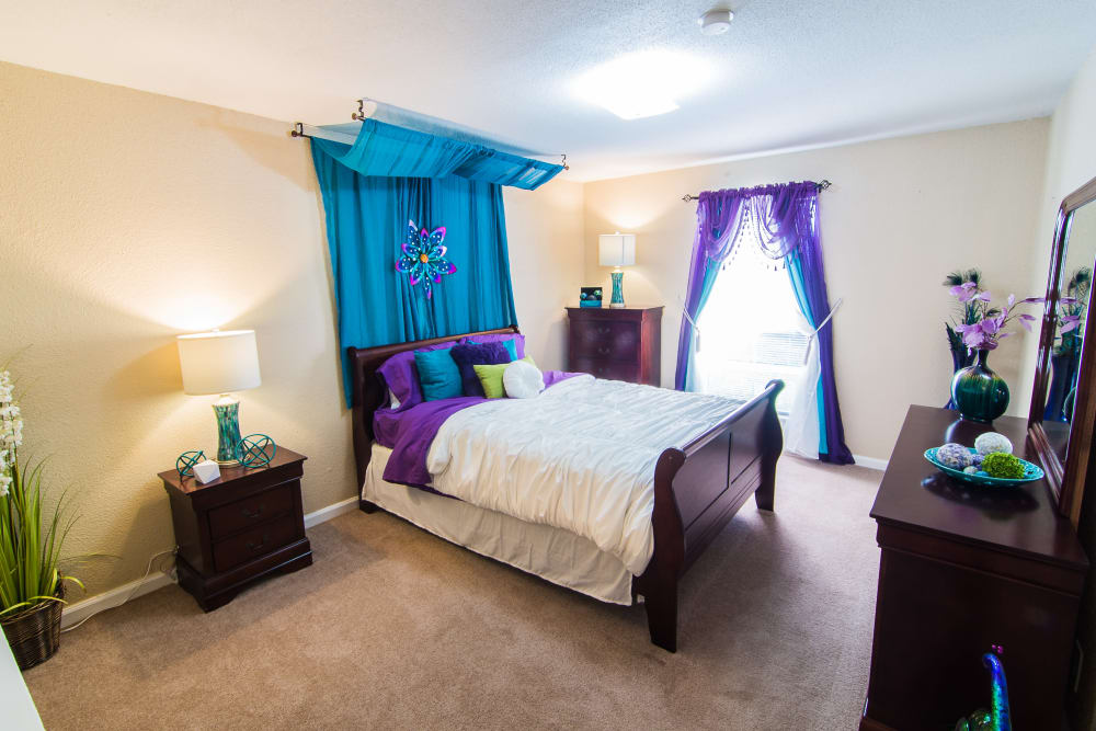 Bedroom at Northlake Manor Apartments in Humble, Texas