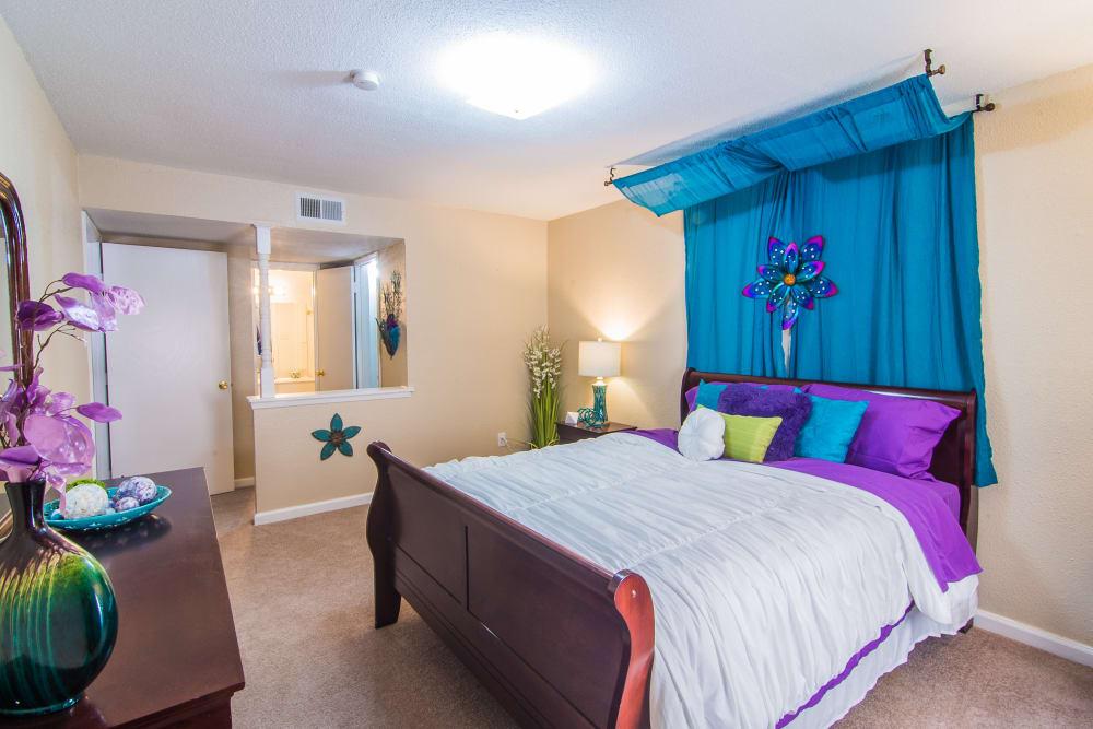 Master bedroom at Northlake Manor Apartments in Humble, TX
