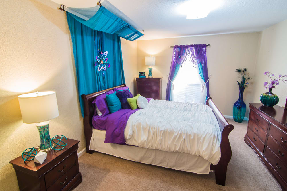 Spacious bedroom at Northlake Manor Apartments in Humble, Texas