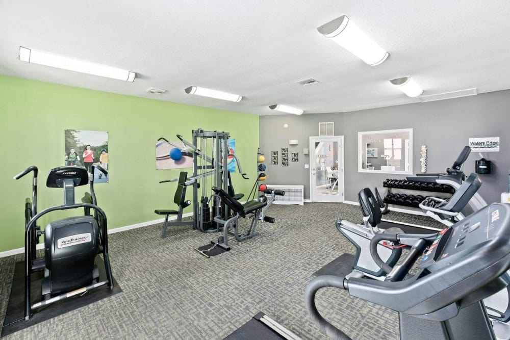 Plenty of cardio machines in the fitness center at WestEnd At 76Ten in Tampa, Florida