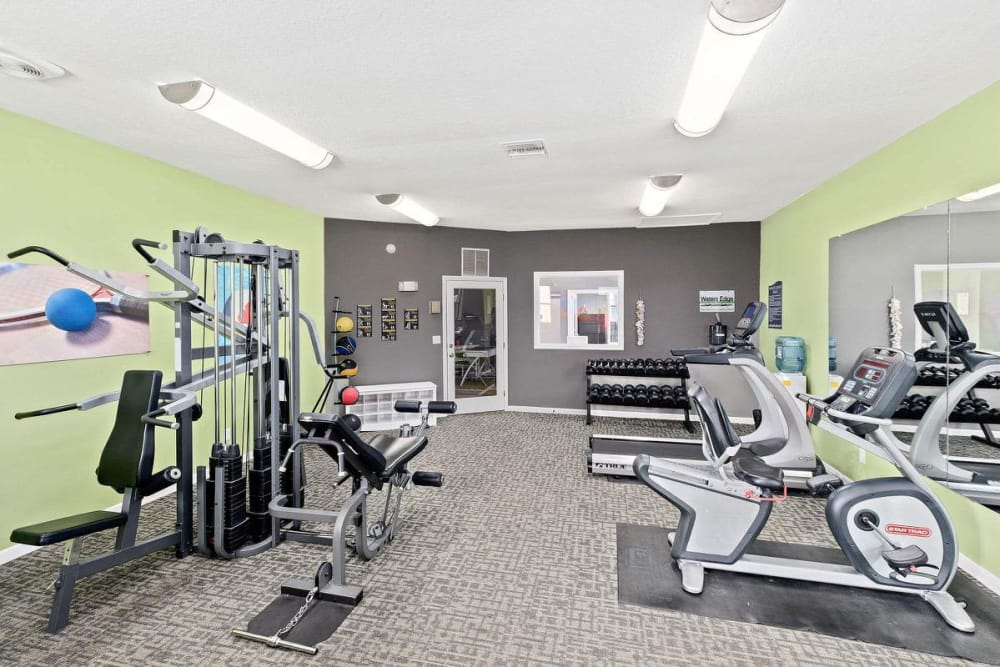 Fully-equipped fitness center at WestEnd At 76Ten in Tampa, Florida