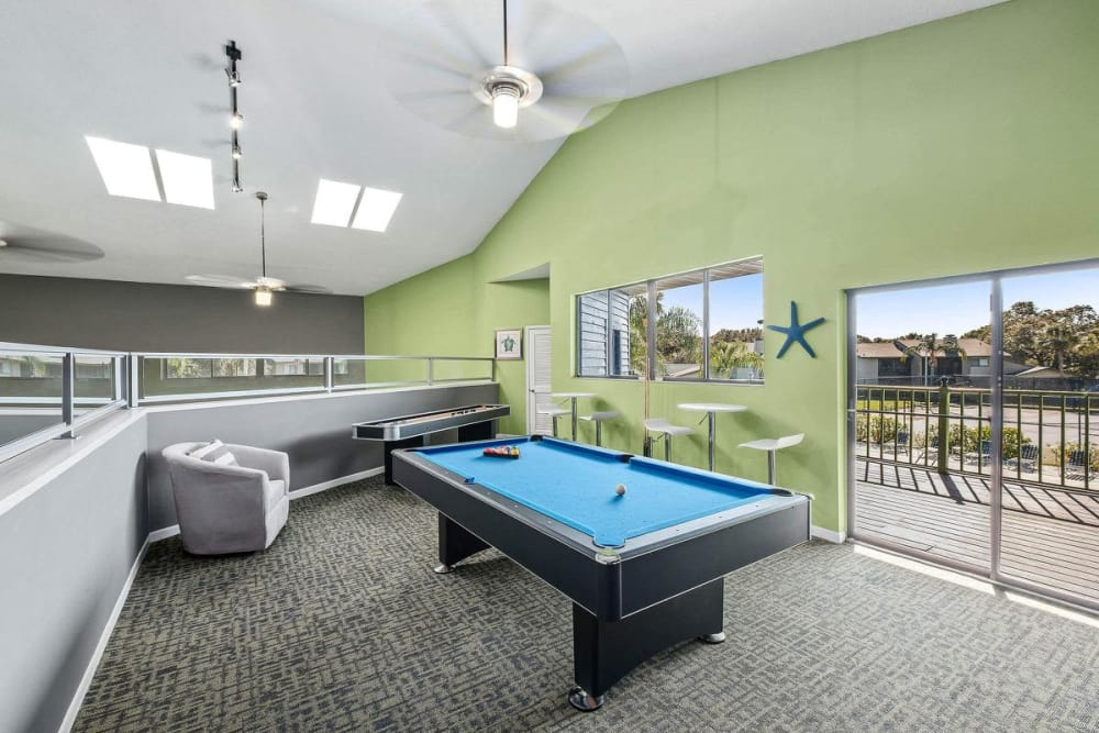 Clubhouse area featuring pool table at WestEnd At 76Ten in Tampa, Florida