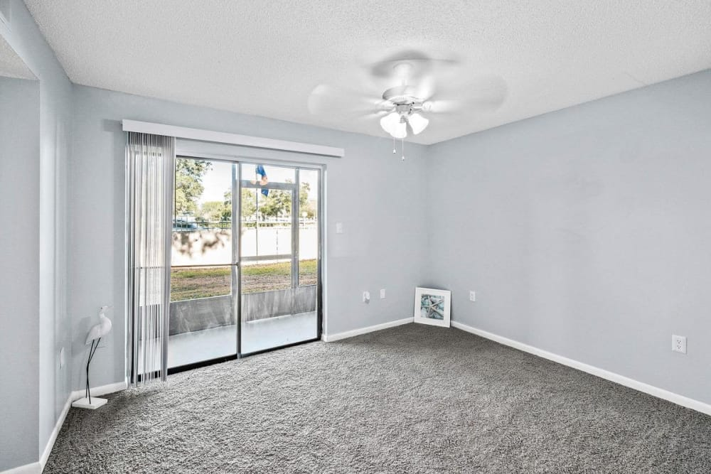 Spacious model living room at WestEnd At 76Ten in Tampa, Florida