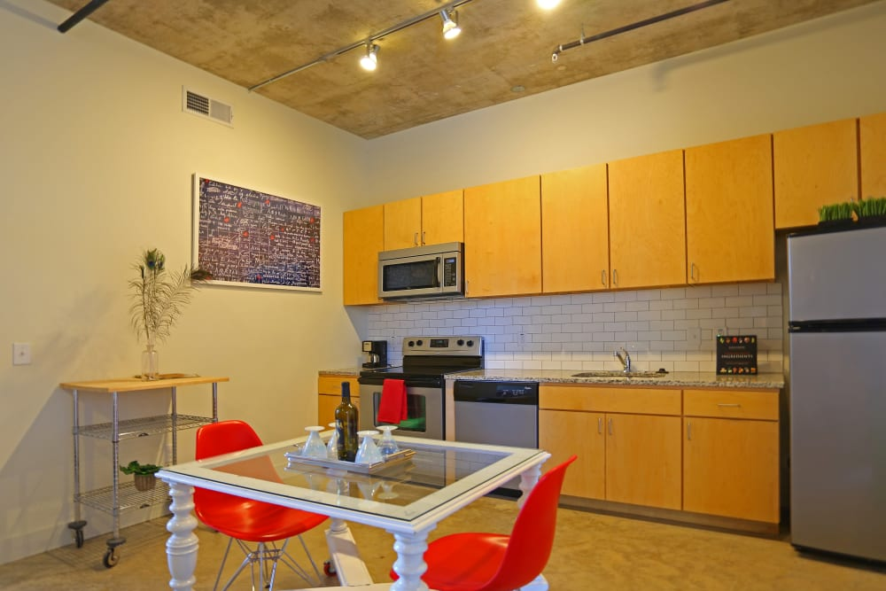 Dining room at 1221 Broadway Lofts