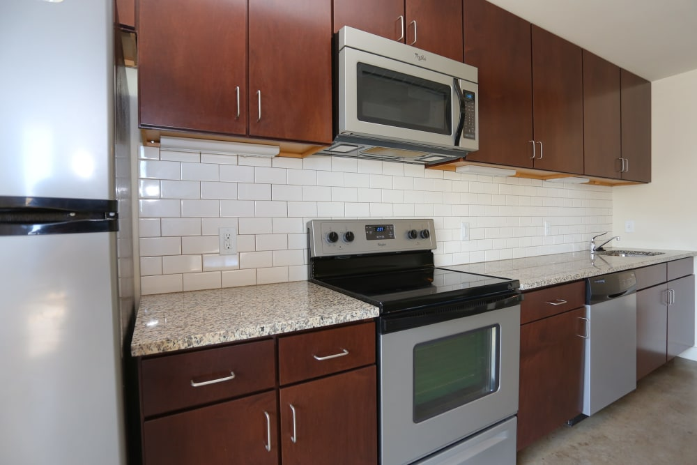 Upgraded kitchen at 1221 Broadway Lofts
