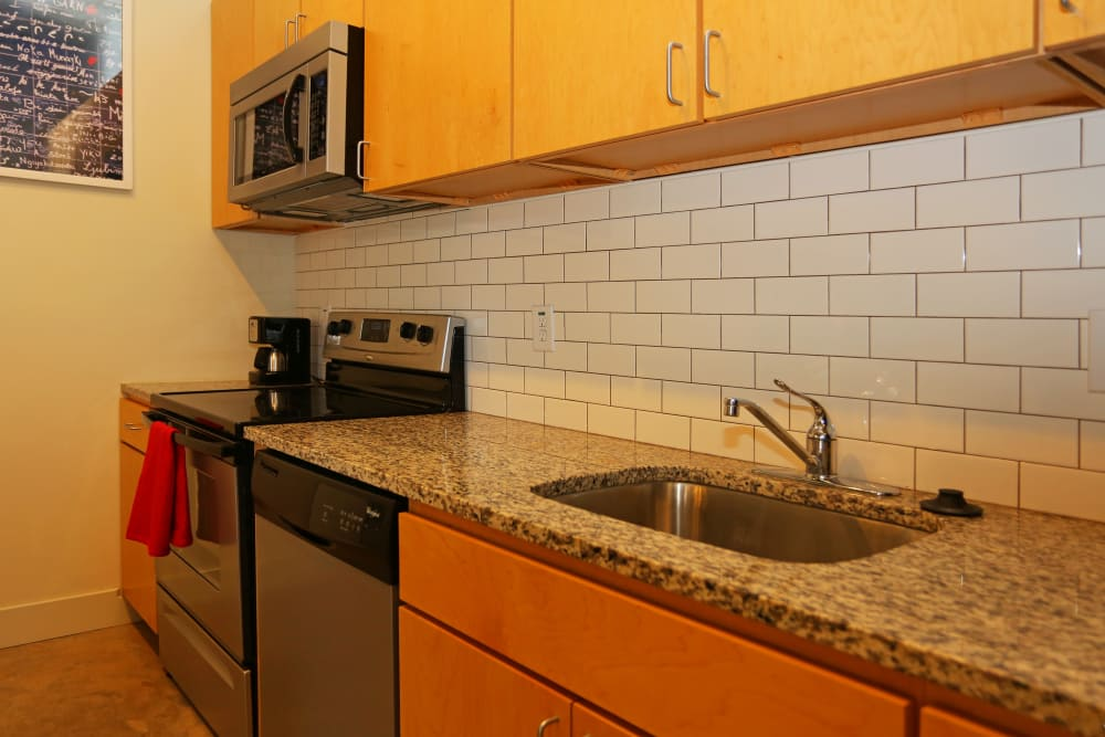 Stainless steel sink at 1221 Broadway Lofts