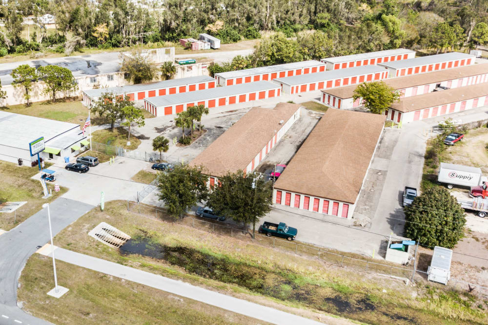 Aerial view of Prime Storage in North Fort Myers, Florida