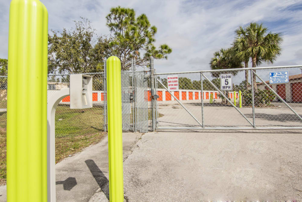 Gated entrance at Prime Storage in North Fort Myers, Florida