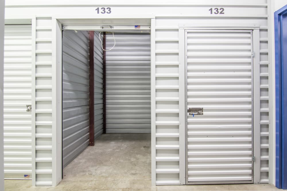 Well-lit interior units at Prime Storage in Rockledge, Florida