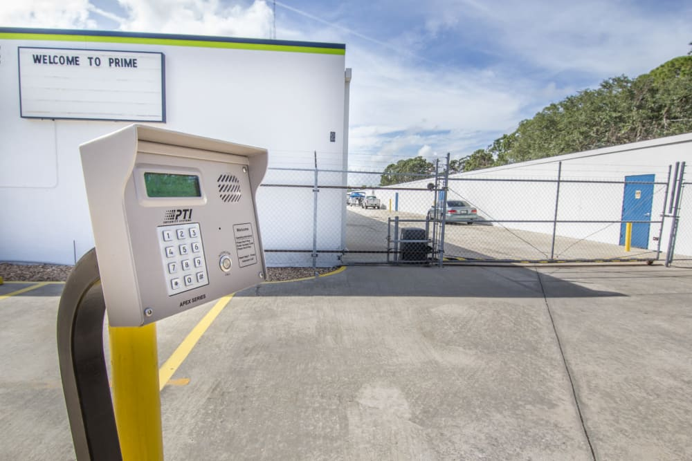 Prime Storage has a secure gate in Rockledge, Florida