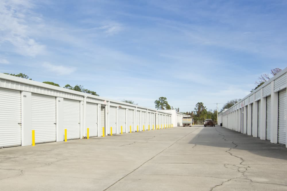 Wide driveways at Prime Storage in Rockledge, Florida