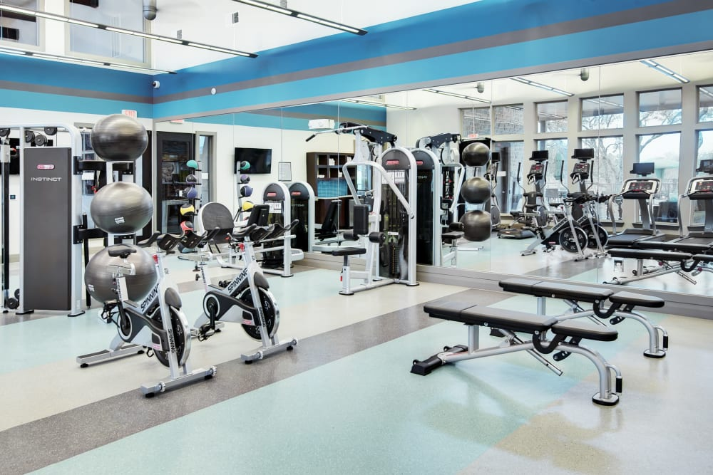 Fully Equipped fitness center at Dwell at Legacy