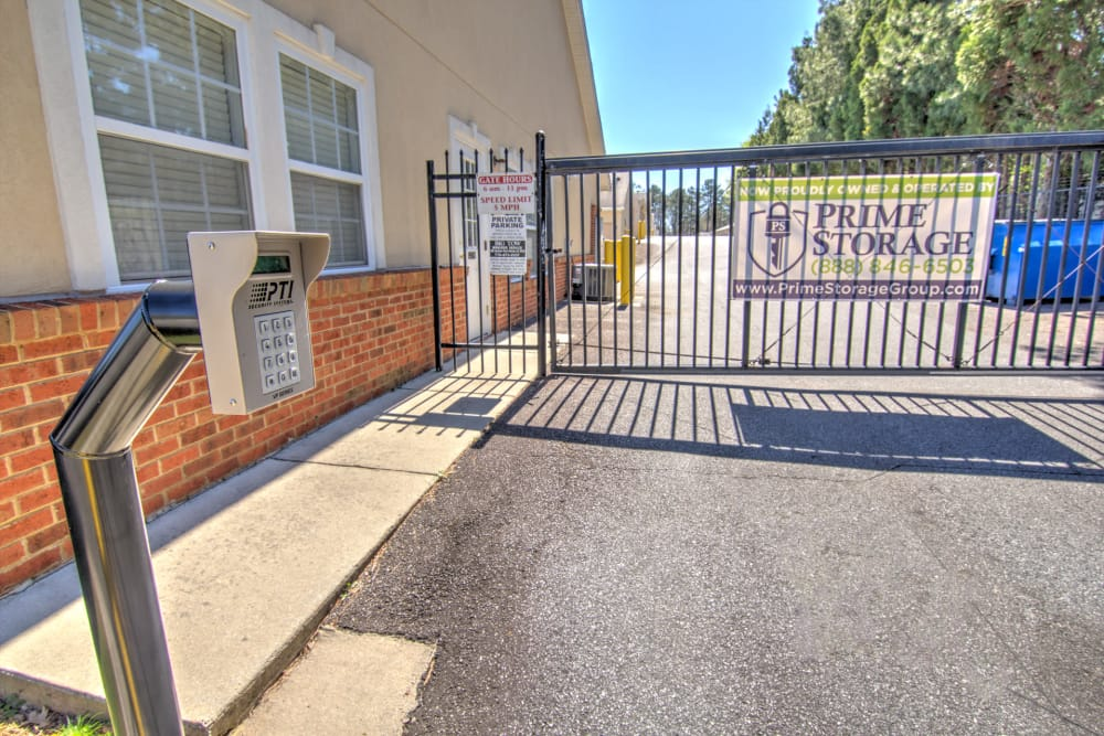 Electronic gate access to Prime Storage in Marietta, Georgia