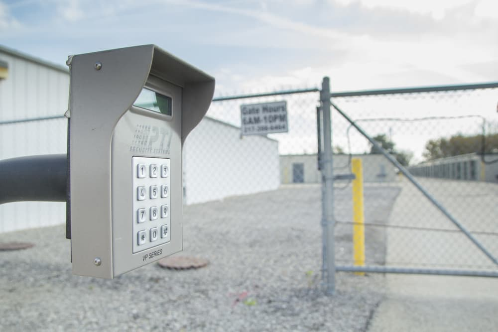 Secured electronic gated access at Prime Storage in Bondville, Illinois
