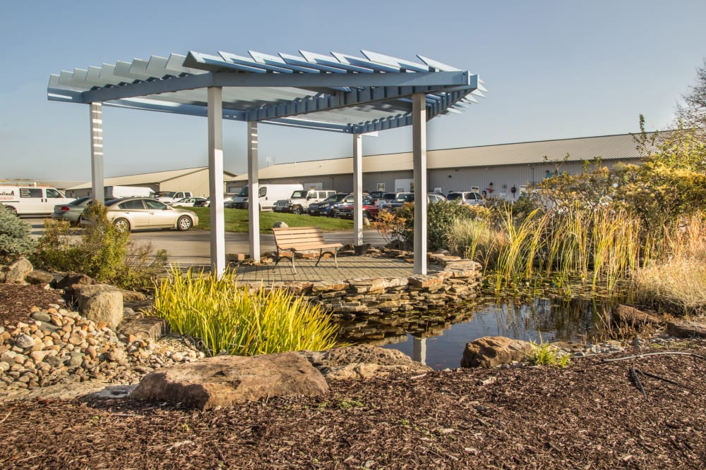 Well maintained landscaping at Prime Storage in Champaign, Illinois