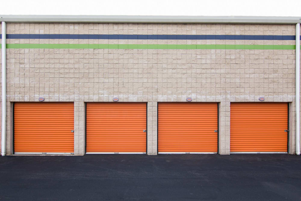 Ground-level storage units at Prime Storage in North Brunswick Township, NJ