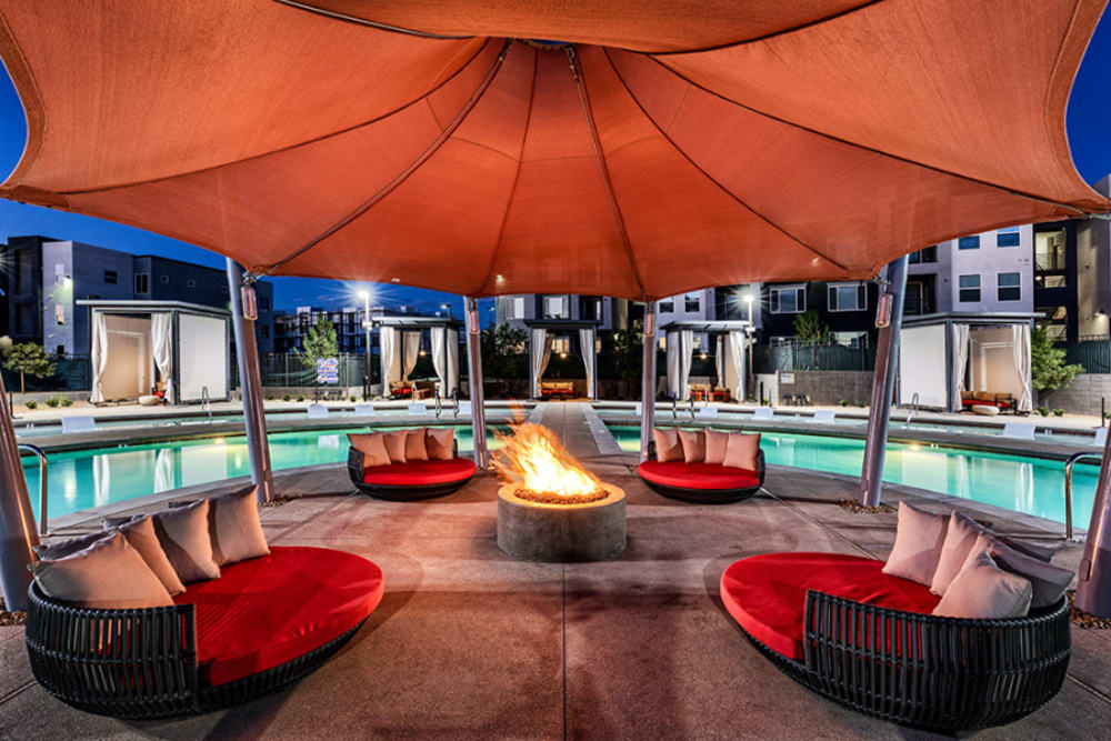 A swimming pool cabana that is great for entertaining friends at Elysian West in Las Vegas, Nevada