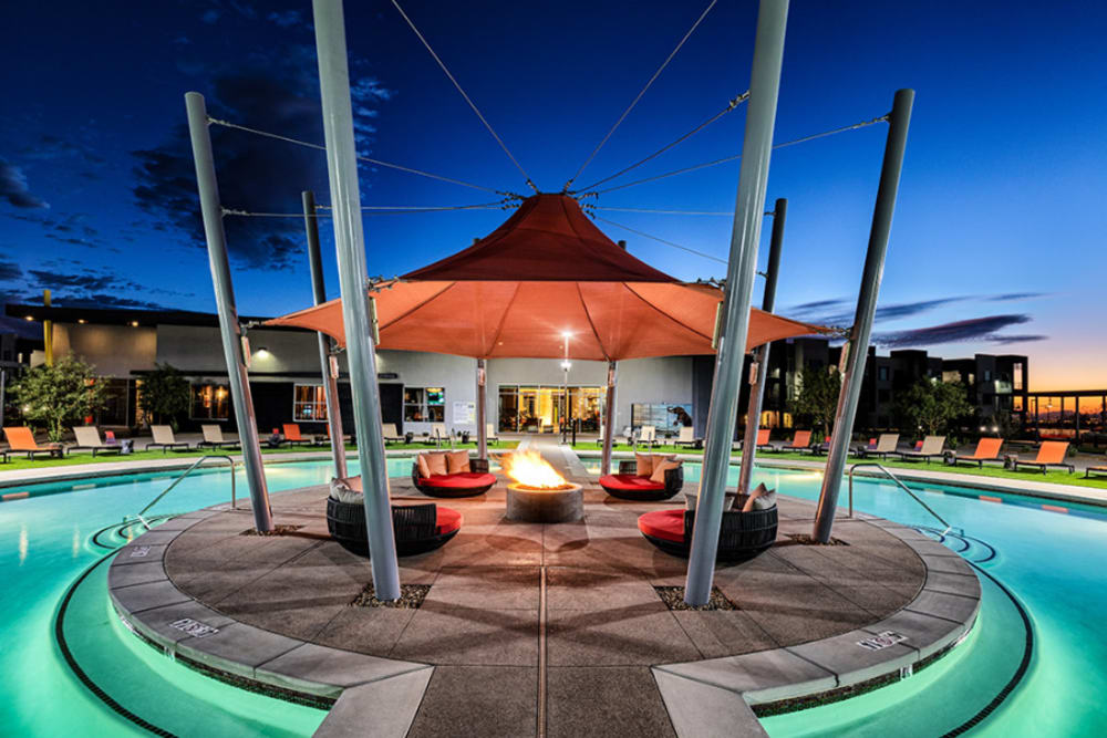 seating area by the swimming pool at Elysian West in Las Vegas, Nevada