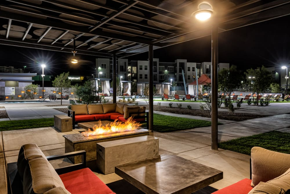 Seating area around fire pit at Elysian West in Las Vegas, Nevada