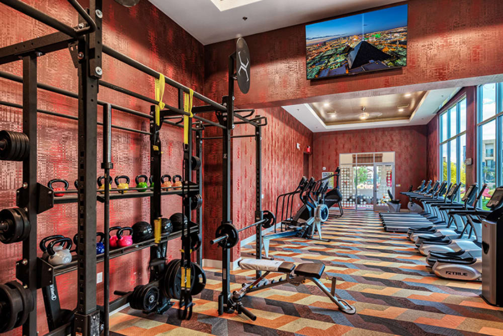 Fully equipped fitness center at Zerzura Apartments in Las Vegas, Nevada