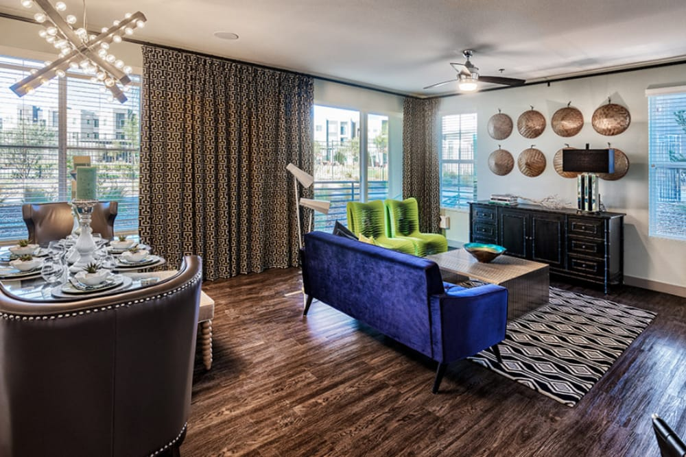 Living and dining room at Zerzura Apartments in Las Vegas, Nevada