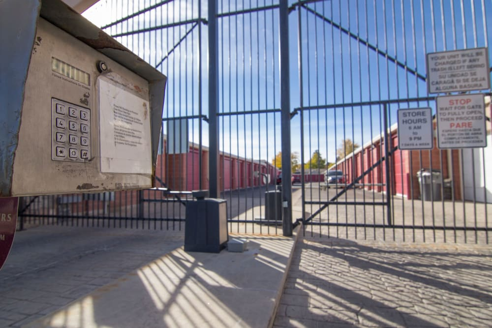 Secure gated entrance at Prime Storage in West Valley, UT