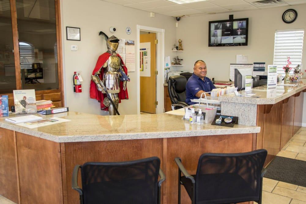 Leasing desk at Prime Storage in West Valley, Utah