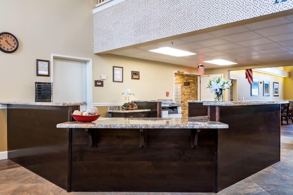 Well decorated reception area at Pacifica Senior Living Klamath Falls in Klamath Falls, Oregon