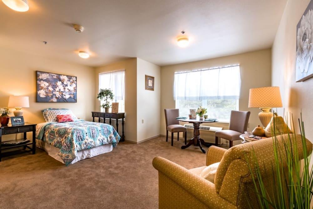 Studio apartment with a bright view at Pacifica Senior Living Klamath Falls in Klamath Falls, Oregon