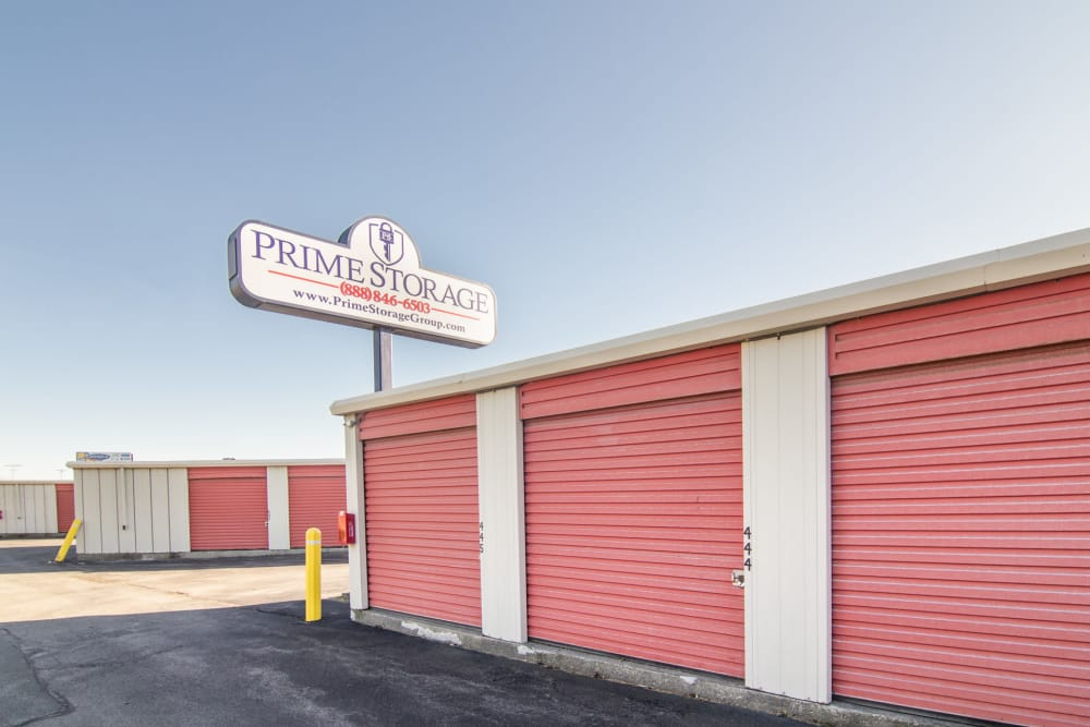 Prime Storage sign over storage units in Albany, NY