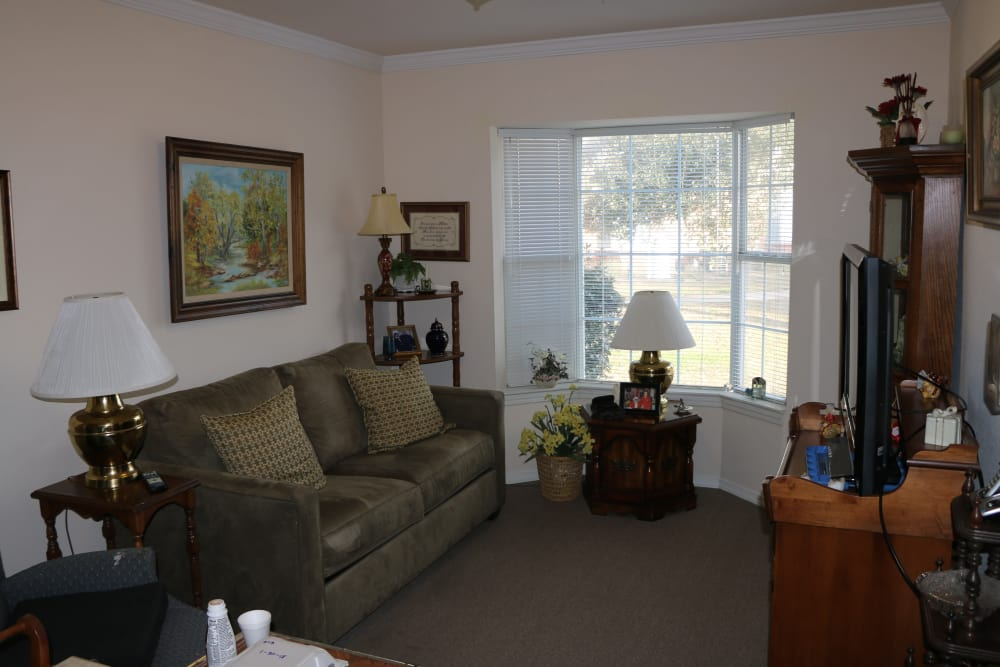 Living room at Azalea Estates of Gonzales in Gonzales, LA.