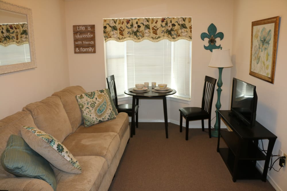 Model living room at Azalea Estates of Slidell in Slidell, Louisiana