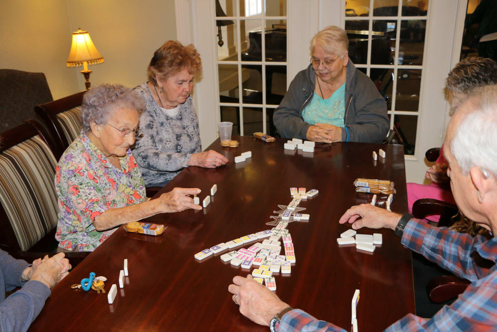 Residents of Azalea Estates of Slidell playing a game a mahjong in Slidell, Louisiana