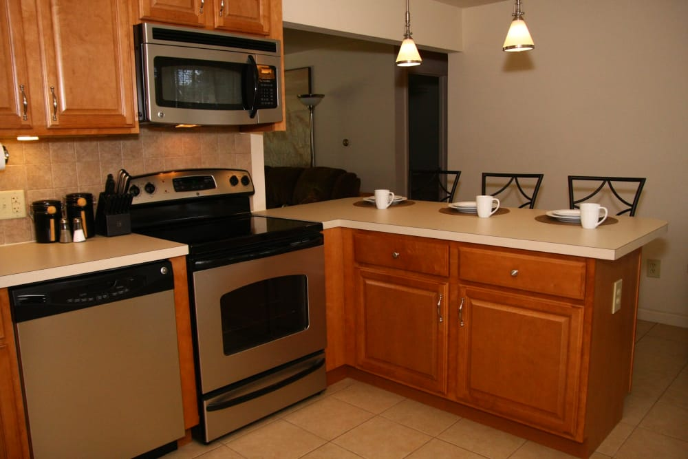 The kitchen at Riverwood Commons comes with stainless steel appliances