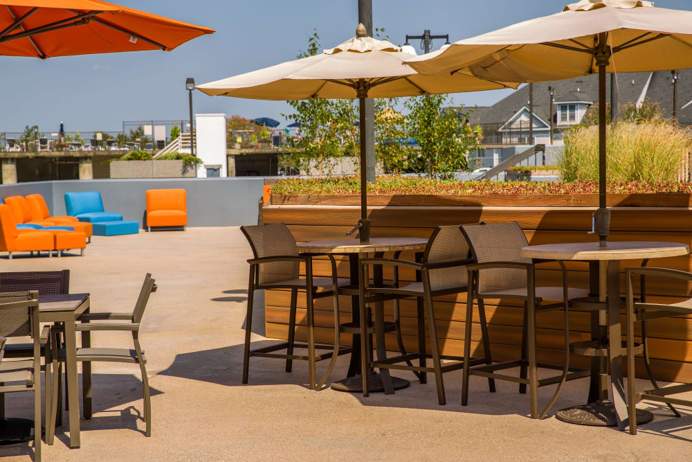 Enjoy the picnic tables with umbrellas at Prospect Place