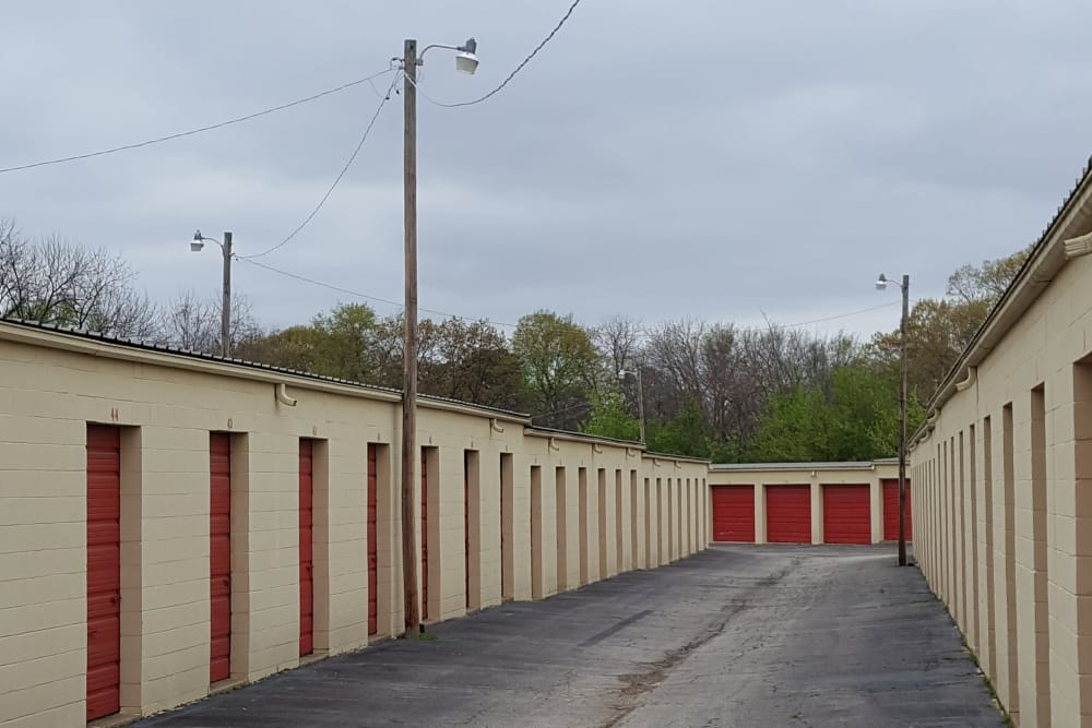 Driveway through storage units at U-Store-It in Fort Smith