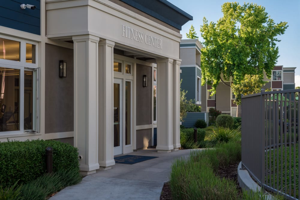 Entrance to the fitness center at Summer House Apartments in Alameda, California