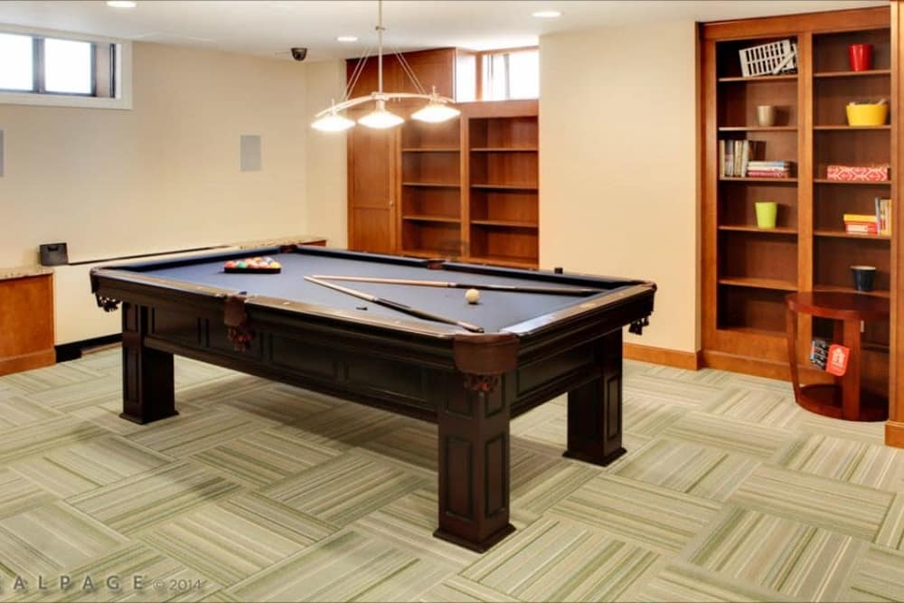 The pool table is a great way to spend time in the community room at Chilton Towers