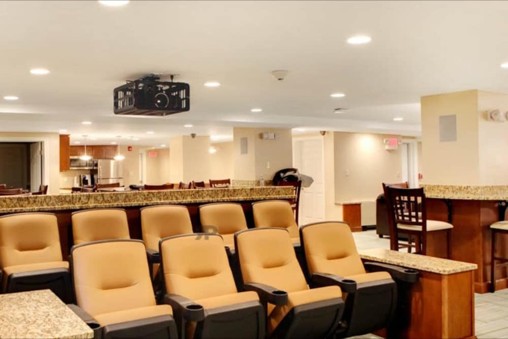 Beige theater seating at Chilton Towers