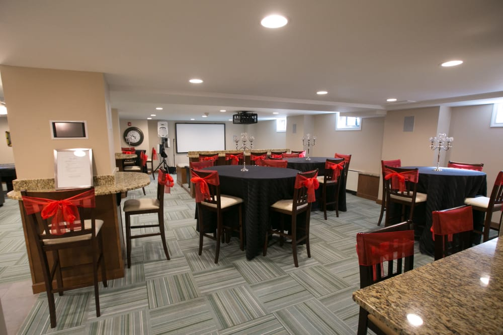 The community room at Chilton Towers has a bar