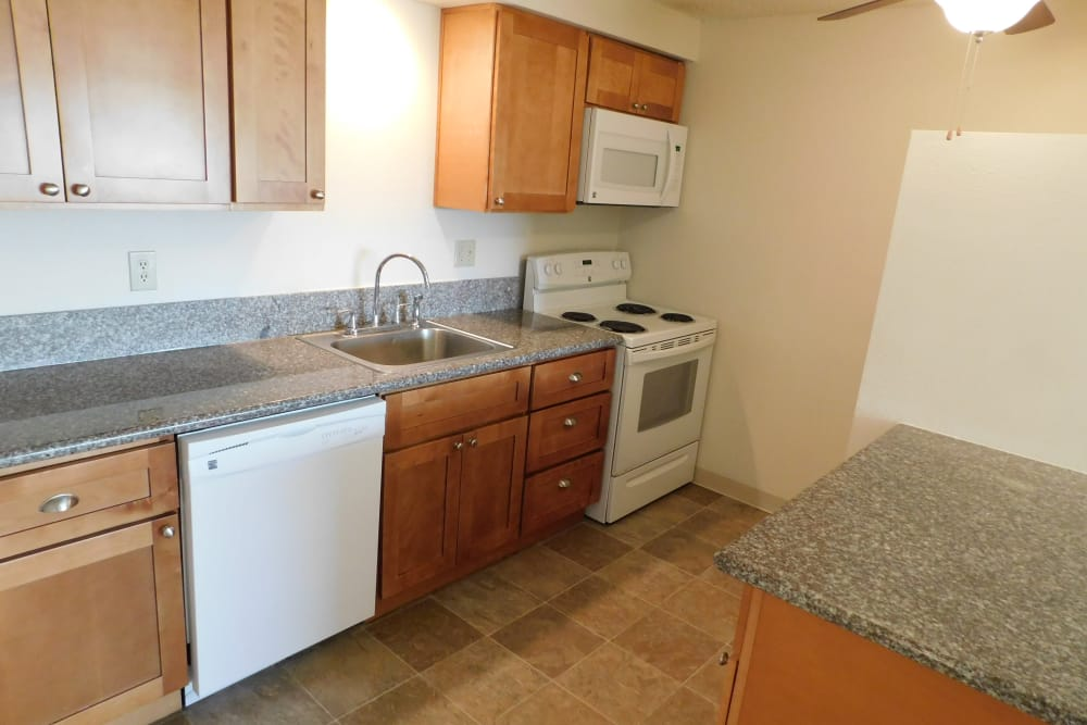 Furnished kitchen at Kings Court in Springfield, Oregon