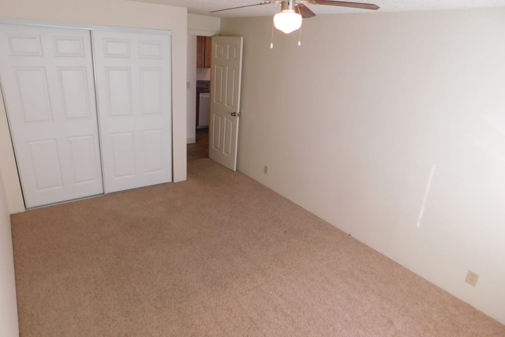 Renovated bedroom at apartments in Springfield, Oregon