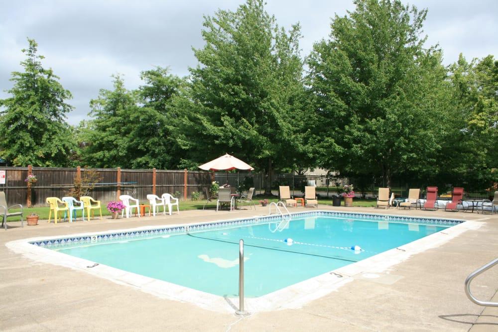 Beautiful swimming pool at apartments in Springfield, Oregon