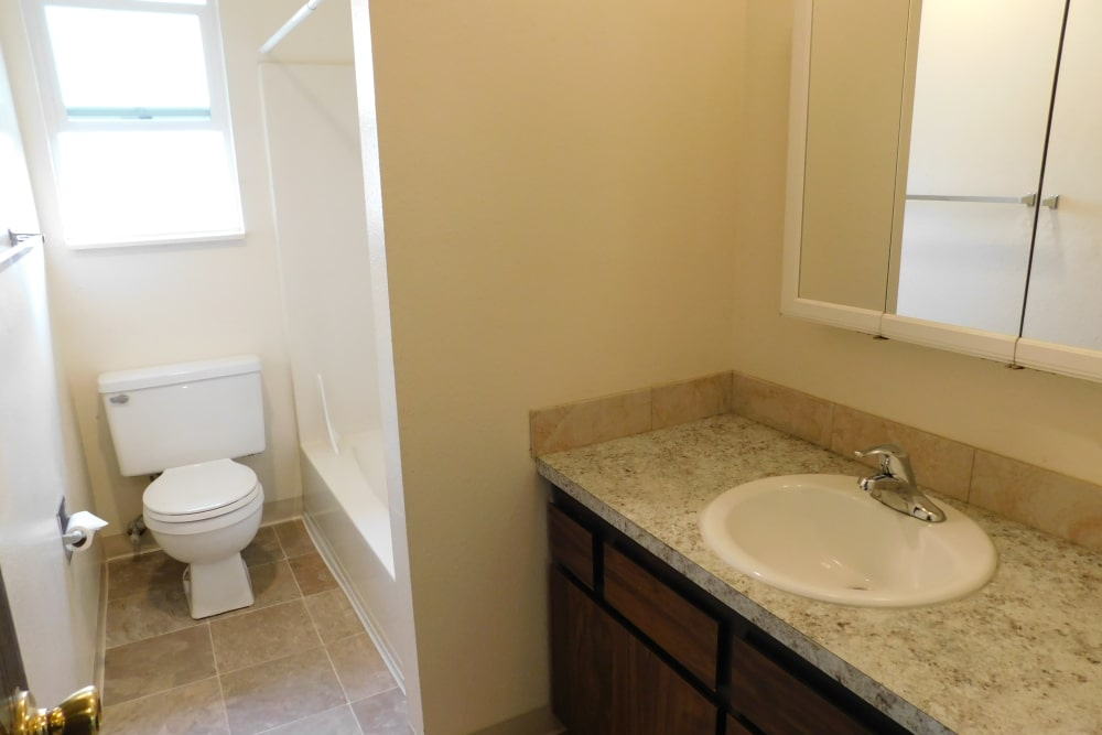 Renovated bathroom at apartments in Lebanon, Oregon