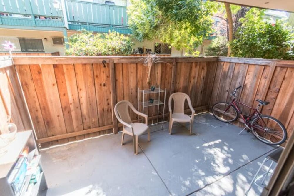 Renovated private patio at Whispering Oaks in Concord, California