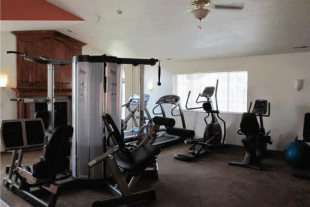 Spacious fitness room at River Rock Apartments in Spokane Valley, Washington
